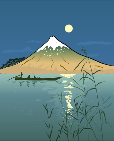 moonlit: Night Seascape with Boat and Mountain