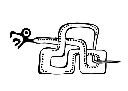 quetzalcoatl: snake in american indians style