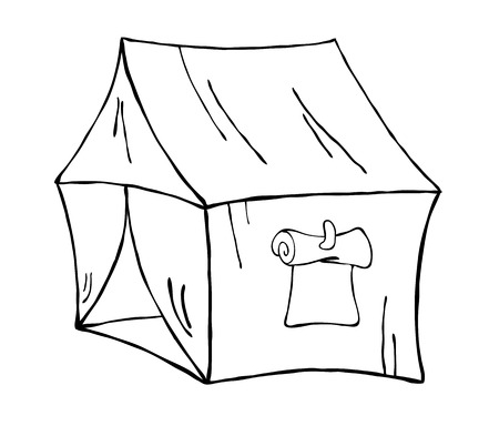 Travel tent, contour illustration Vector