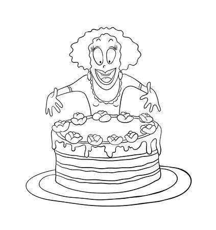 Woman and big cake Vector