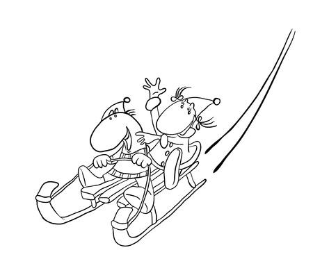 snowy hill: couple sledding on a snowy hill