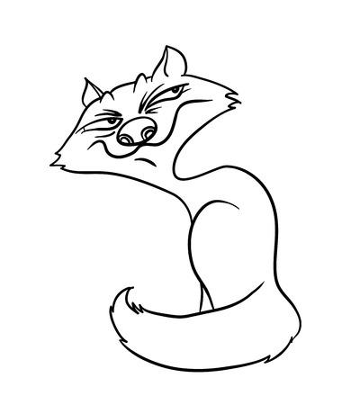 sly fox, contour illustration Vector