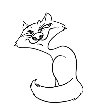 sly: sly fox, contour illustration