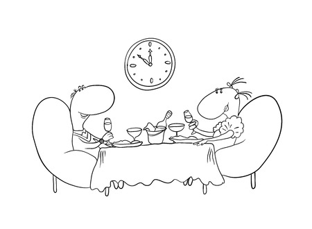 loving couple sitting at a table Vector