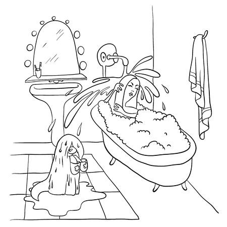 lying in: Woman lying in the bath