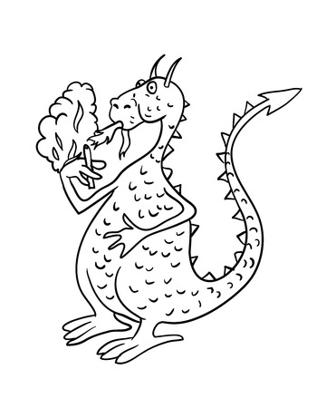spitting: dragon smoking a cigarette