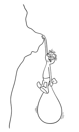 precipice: man with a bag hanging over the precipice