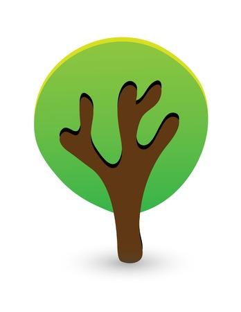 frondage: green tree isolated on white background