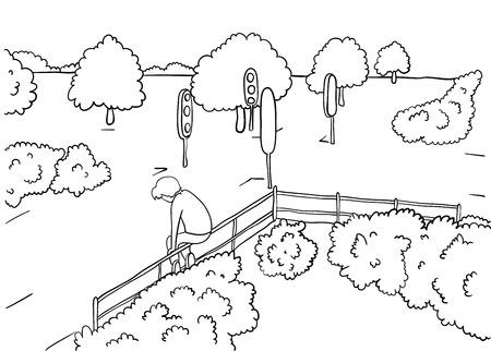 abandonment: man alone in park illustration