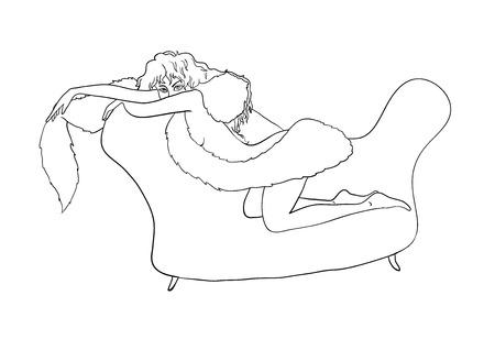 hoer: meisje zittend op een bank, contour illustratie