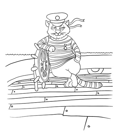sailer: cartoon cat at the helm of the ship, vector illustration