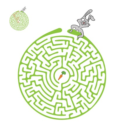 Vector Maze, Labyrinth Game for Children with Rabbit  and Carrot. Иллюстрация
