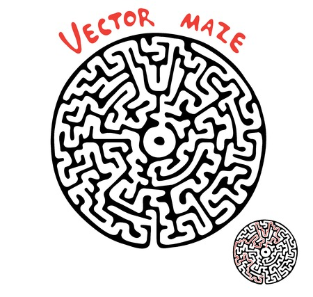 Black vector maze, round labyrinth illustration Vector
