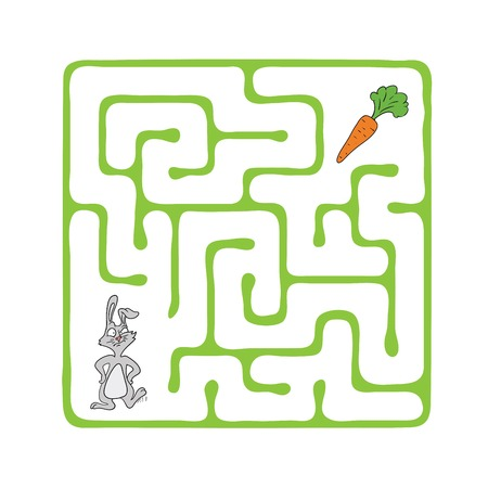 Vector Maze, Labyrinth Game for Children with Rabbit  and Carrot. Çizim