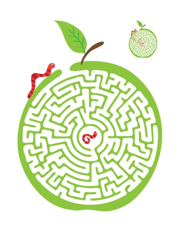 worm cartoon: Vector Maze, Labyrinth education Game for Children with Monkey and Banana. Illustration