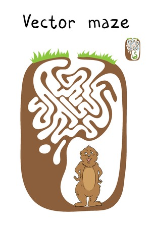 marmot: Vector Maze, Labyrinth education Game for Children with Marmot. Illustration