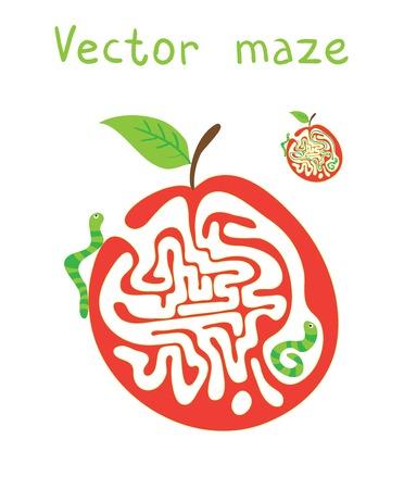brain puzzle: Vector Maze, Labyrinth education Game for Children with Monkey and Banana. Illustration
