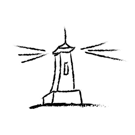 hand drawn, sketch, vector illustration of lighthouse Vector