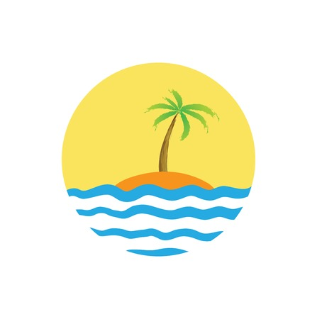 Tropical palm on island with sea. Vector logo. Illustration