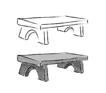 bench sketch illustration on white background Vector