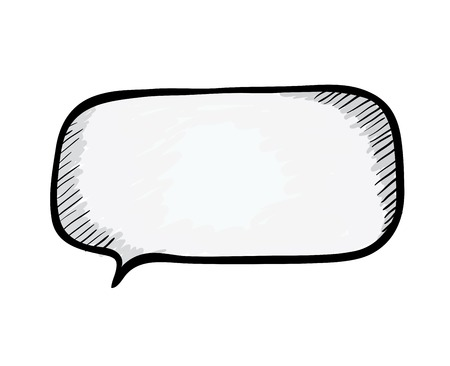 dialog balloon: Speech bubble. Sketch illustration isolated on white.