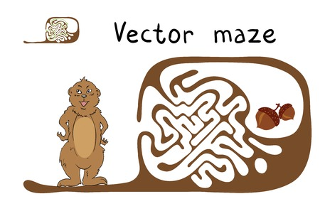 marmot: Vector Maze, Labyrinth education Game for Children with Marmot and Nut.