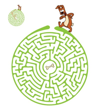 Vector Maze, Labyrinth education Game for Children with Dog and Bone. Vector