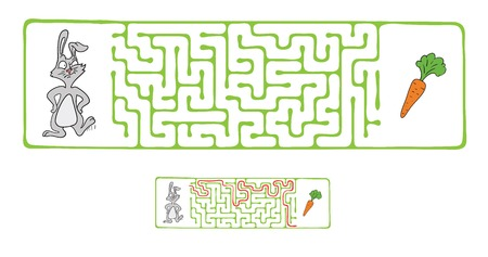 pathfinder: Vector Maze, Labyrinth Game for Children with Rabbit  and Carrot. Illustration
