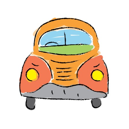 vw: beetle car, hand-drawn vector illustration on white background