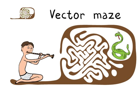 snake charmer: Vector Maze, Labyrinth education Game for Children with Snake and Fakir