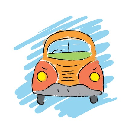 cartoon beetle car, hand-drawn vector illustration
