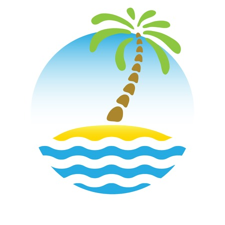 Tropical palm on island with sea. Vector logo. Vector