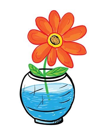 child's drawing: orange flower in glass vase, vector illustration, childs drawing style Illustration