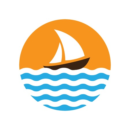 Sailing boat on the water, vector logo icon Vector