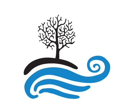 bank branch: Tree near the water, vector logo illustration