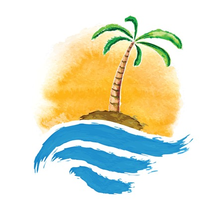 paradisiacal: Tropical palm on island with sea. Vector illustration.