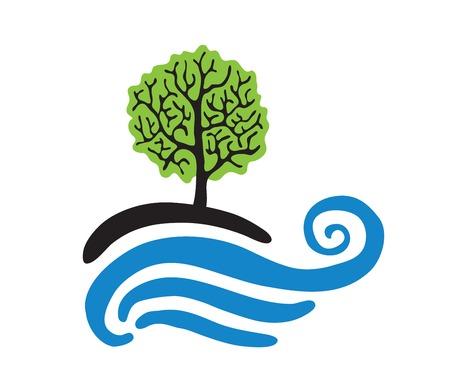 Albero vicino all'acqua, logo vettoriale illustrazione Vettoriali