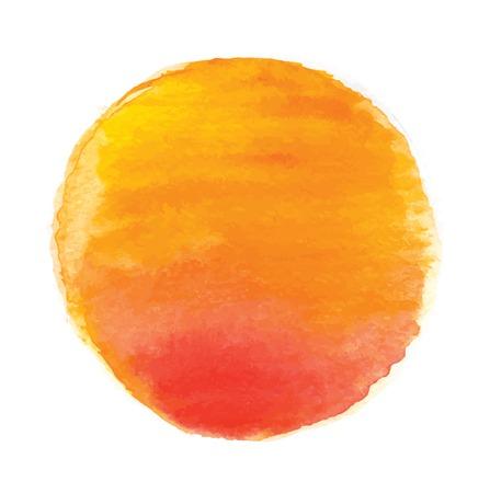 水彩太陽、ベクトル図では、白い背景で隔離