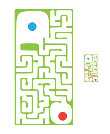 green vector maze, labyrinth illustration
