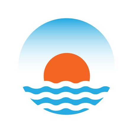 The sun and the sea. Vector logo illustration Vector
