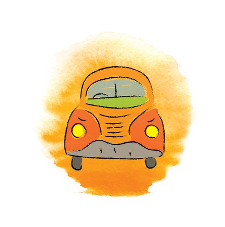 volkswagen: cartoon beetle car, hand-drawn vector illustration