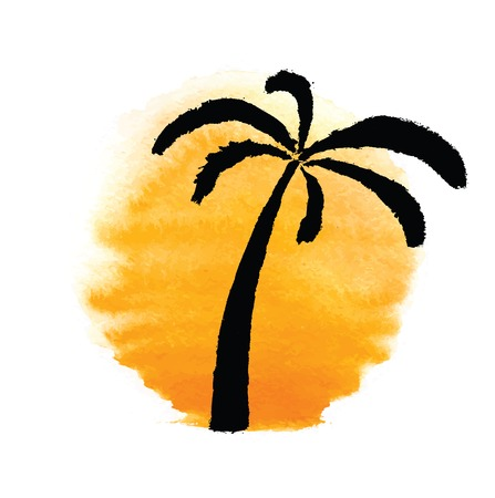 Silhouette of palm trees against the sun.  Vector