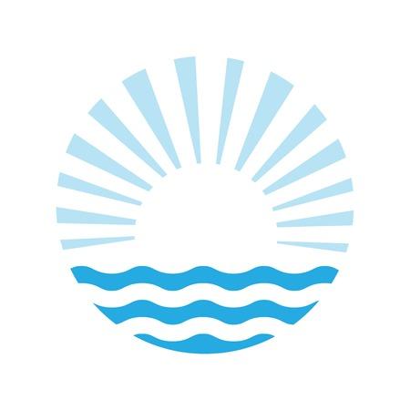 oceano: El sol y el mar. Vector logo ilustración