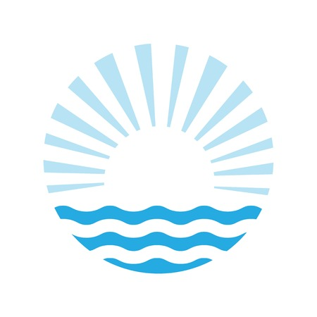 sunny beach: The sun and the sea. Vector logo illustration