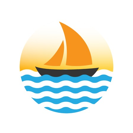 Sailing boat on the water, vector icon Vector