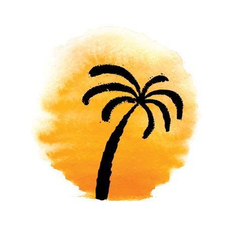 Silhouette of palm trees against the sun. Vector logo illustration. Vector