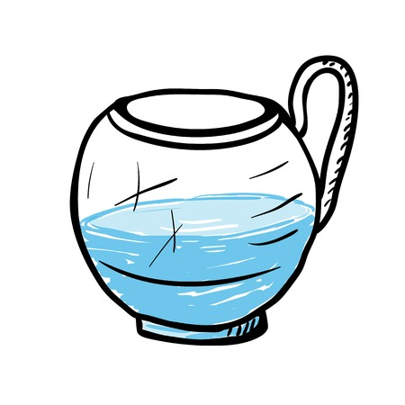 drinkware: Glass cup with water, vector sketch illustration.