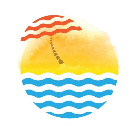 beach umbrella and sea, vector tourism logo photo