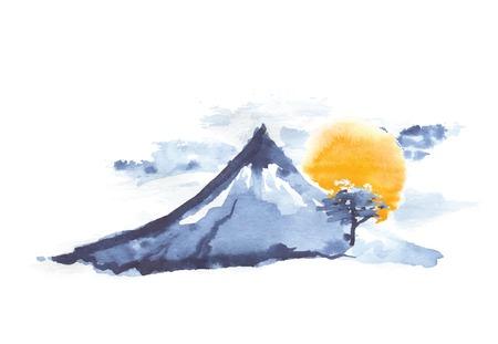 Mountain Fuji and sun, volcano, japanese art, vector illustration