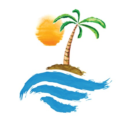 Tropical palm on island with sea. Vector logo illustration. Vector